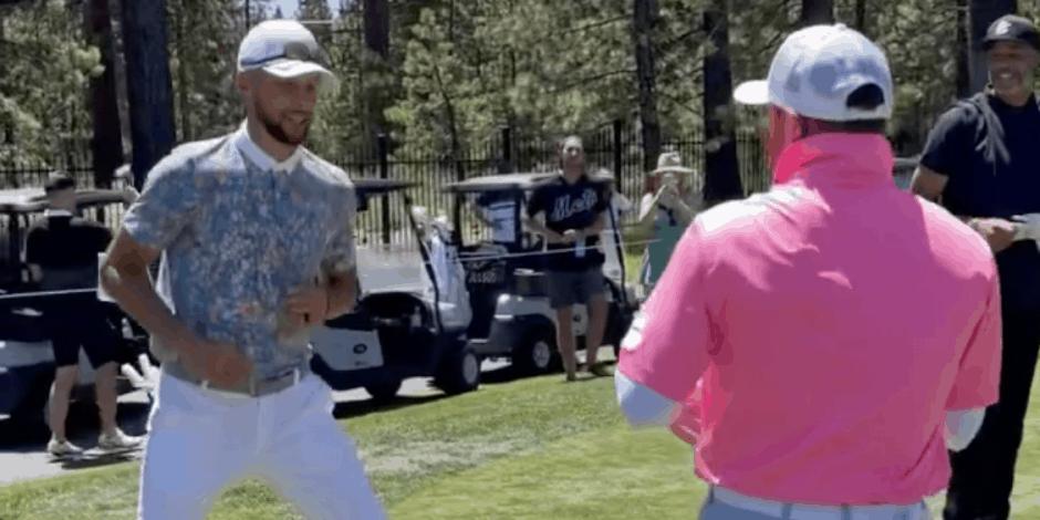 Canelo y Curry organizan 'pelea' en campo de golf